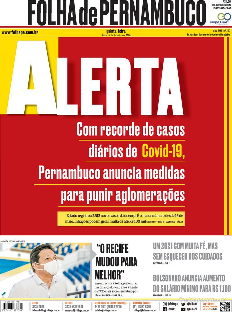 Capa do jornal Folha de Pernambuco 31/12/2020