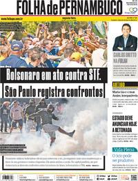 Capa do jornal Folha de Pernambuco 01/06/2020
