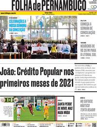 Capa do jornal Folha de Pernambuco 01/12/2020