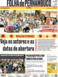 Capa do jornal Folha de Pernambuco 02/06/2020