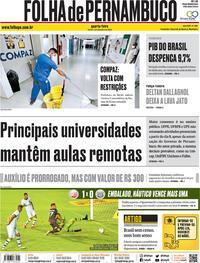 Capa do jornal Folha de Pernambuco 02/09/2020