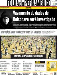 Capa do jornal Folha de Pernambuco 03/06/2020