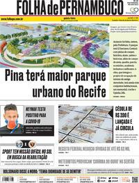 Capa do jornal Folha de Pernambuco 03/09/2020