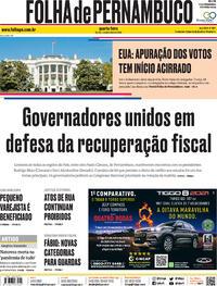 Capa do jornal Folha de Pernambuco 04/11/2020