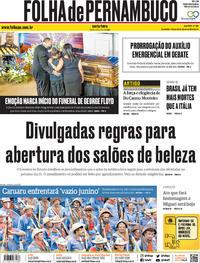 Capa do jornal Folha de Pernambuco 05/06/2020