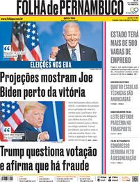 Capa do jornal Folha de Pernambuco 05/11/2020