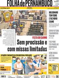 Capa do jornal Folha de Pernambuco 07/07/2020