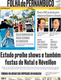 Capa do jornal Folha de Pernambuco 08/12/2020
