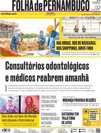 Capa do jornal Folha de Pernambuco 09/06/2020