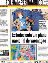 Capa do jornal Folha de Pernambuco 09/12/2020