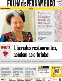 Capa do jornal Folha de Pernambuco 10/07/2020