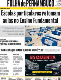 Capa do jornal Folha de Pernambuco 10/11/2020