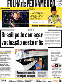 Capa do jornal Folha de Pernambuco 10/12/2020