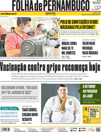 Capa do jornal Folha de Pernambuco 11/05/2020