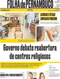 Capa do jornal Folha de Pernambuco 11/06/2020