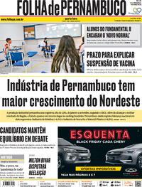 Capa do jornal Folha de Pernambuco 11/11/2020