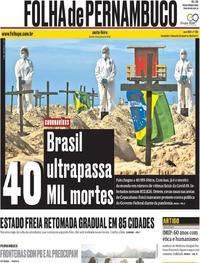 Capa do jornal Folha de Pernambuco 12/06/2020