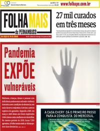 Capa do jornal Folha de Pernambuco 13/06/2020
