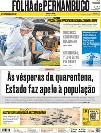 Capa do jornal Folha de Pernambuco 14/05/2020