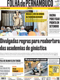 Capa do jornal Folha de Pernambuco 14/07/2020