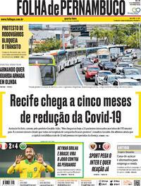 Capa do jornal Folha de Pernambuco 14/10/2020