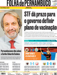 Capa do jornal Folha de Pernambuco 14/12/2020