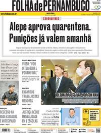 Capa do jornal Folha de Pernambuco 15/05/2020