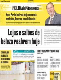 Capa do jornal Folha de Pernambuco 15/06/2020