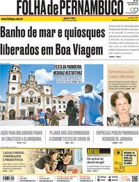 Capa do jornal Folha de Pernambuco 15/07/2020