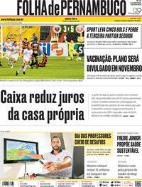 Capa do jornal Folha de Pernambuco 15/10/2020