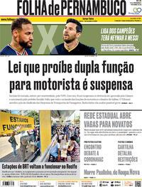 Capa do jornal Folha de Pernambuco 15/12/2020