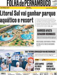 Capa do jornal Folha de Pernambuco 16/10/2020