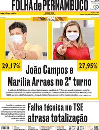 Capa do jornal Folha de Pernambuco 16/11/2020