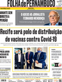 Capa do jornal Folha de Pernambuco 16/12/2020