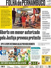 Capa do jornal Folha de Pernambuco 17/08/2020
