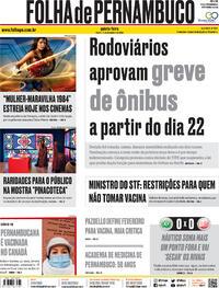 Capa do jornal Folha de Pernambuco 17/12/2020