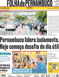 Capa do jornal Folha de Pernambuco 18/05/2020