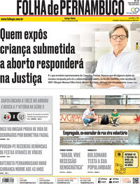 Capa do jornal Folha de Pernambuco 18/08/2020