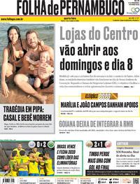 Capa do jornal Folha de Pernambuco 18/11/2020