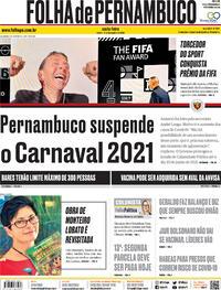 Capa do jornal Folha de Pernambuco 18/12/2020