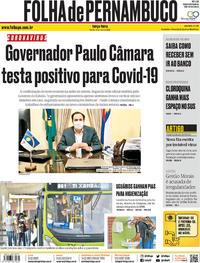 Capa do jornal Folha de Pernambuco 19/05/2020