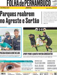 Capa do jornal Folha de Pernambuco 19/10/2020