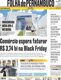 Capa do jornal Folha de Pernambuco 19/11/2020