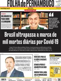 Capa do jornal Folha de Pernambuco 20/05/2020