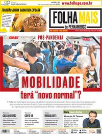Capa do jornal Folha de Pernambuco 20/06/2020