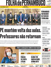 Capa do jornal Folha de Pernambuco 20/10/2020