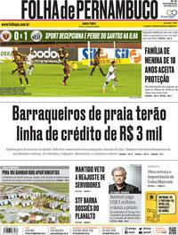 Capa do jornal Folha de Pernambuco 21/08/2020