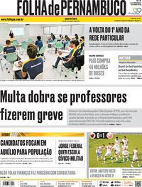 Capa do jornal Folha de Pernambuco 21/10/2020