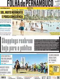 Capa do jornal Folha de Pernambuco 22/06/2020