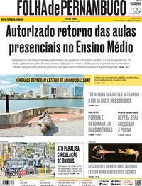 Capa do jornal Folha de Pernambuco 22/09/2020